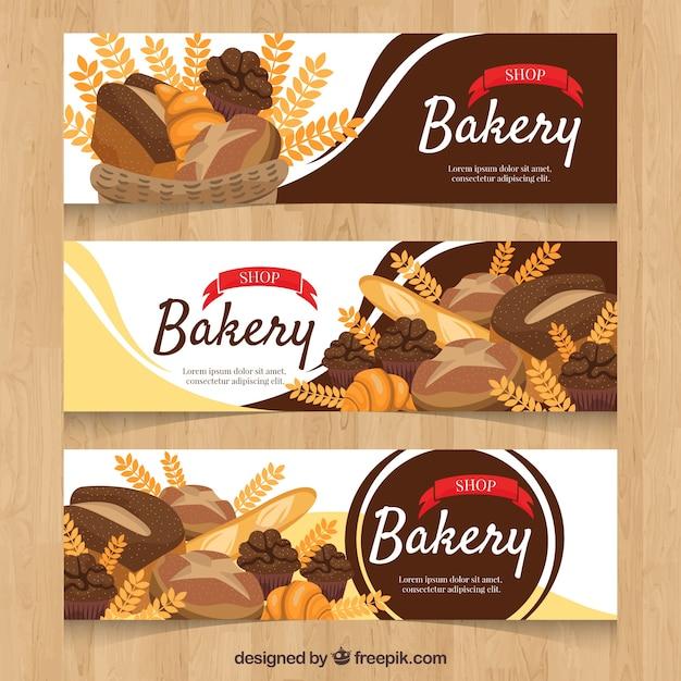Banners de padaria em estilo plano Vetor grátis