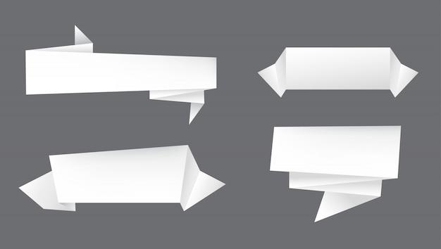 Banners de papel branco Vetor Premium
