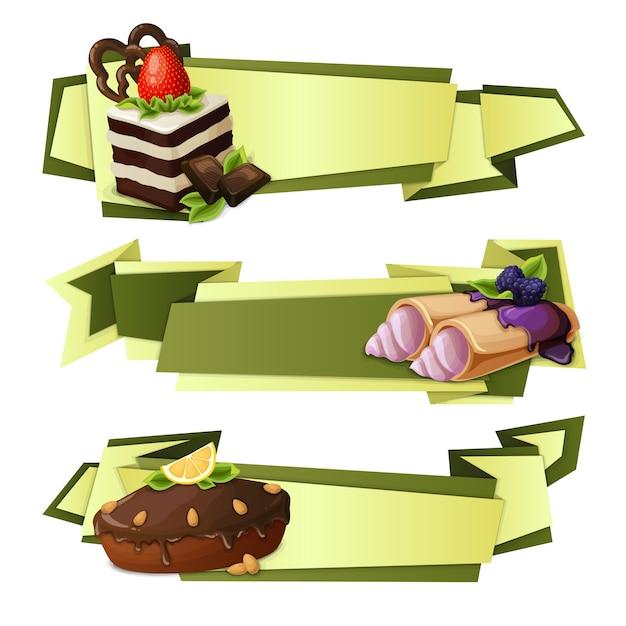 Banners de papel de doces Vetor Premium