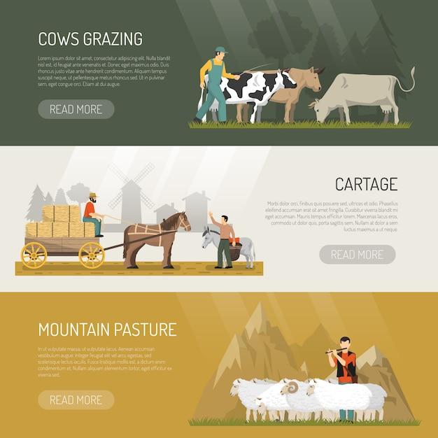 Banners de pasto de animais de fazenda Vetor grátis