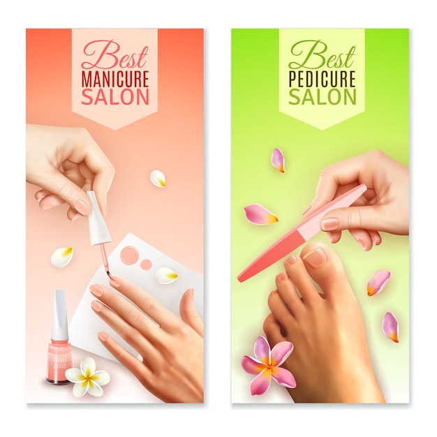 Banners de pedicure e manicure Vetor grátis