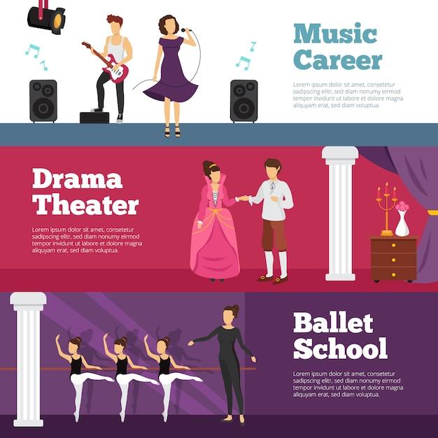 Banners de pessoas de teatro conjunto com escola de balé e carreira de música Vetor grátis