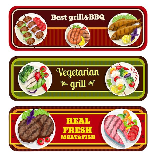 Banners de pratos de grelhados Vetor grátis