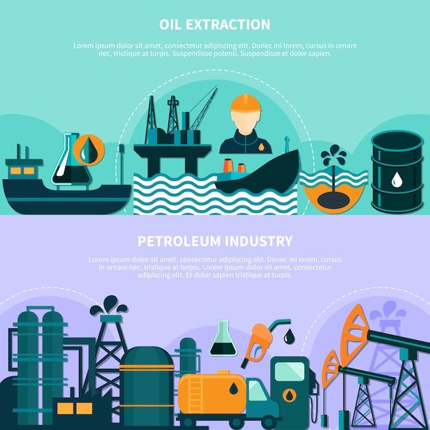 Banners de produção de petróleo offshore Vetor grátis