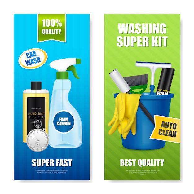 Banners de produtos de lavagem de carro automático Vetor grátis