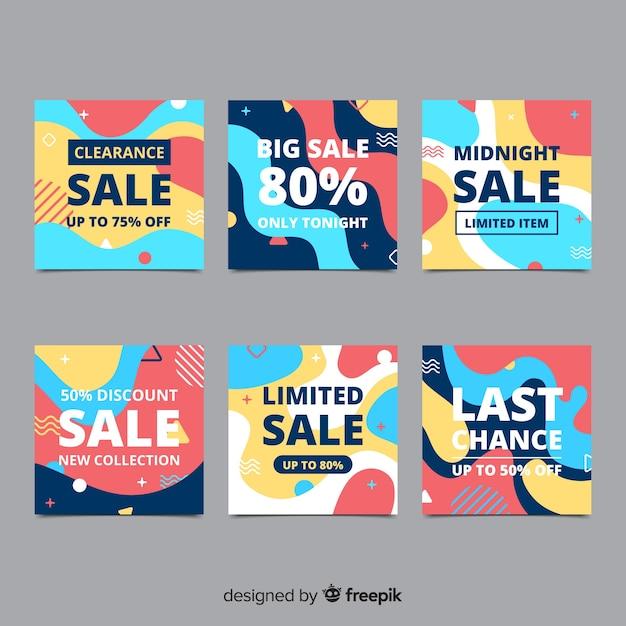 Banners de promoção de venda para mídias sociais Vetor grátis