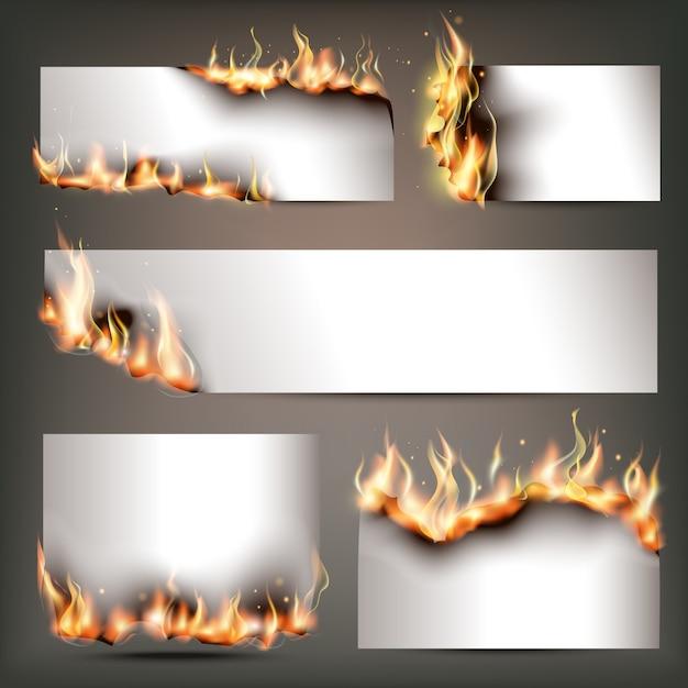 Banners de propaganda estratégica de fogo quente definidos para atrair clientes para vendas sazonais de descontos Vetor Premium