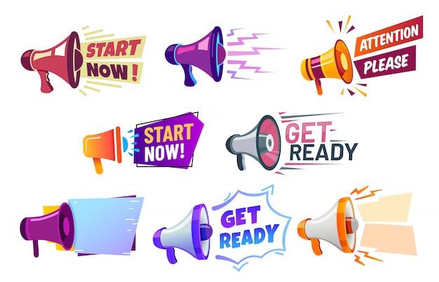 Banners de publicidade com megafone. prepare o alto-falante do crachá, atenção, por favor e comece agora o conjunto de banner Vetor Premium