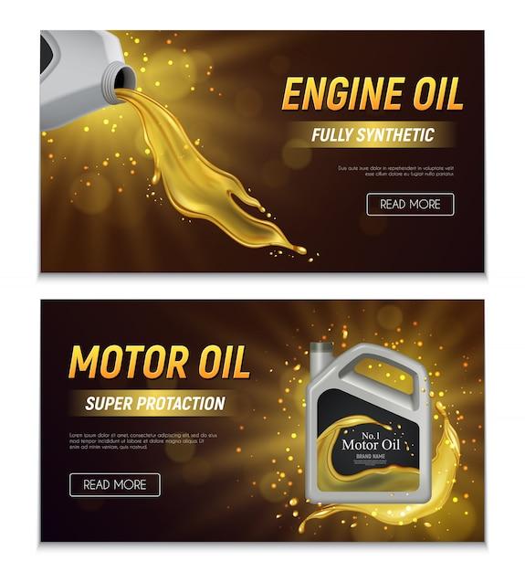 Banners de publicidade realista de óleo de motor com ilustração de texto promocional de propriedades de proteção e totalmente sintéticas Vetor grátis