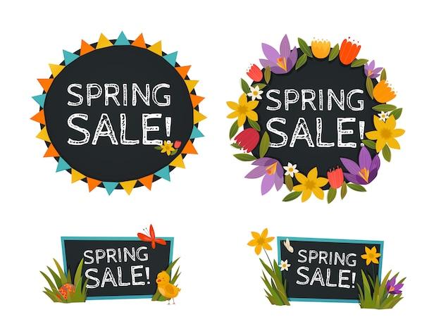 Banners de quadro-negro de venda de primavera Vetor grátis