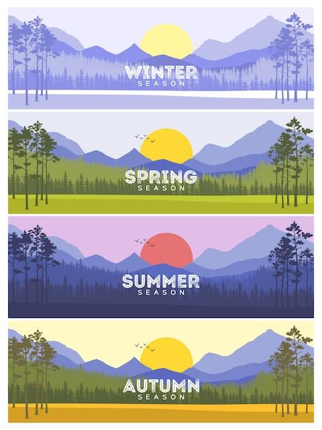 Banners de quatro estações com árvores abstratas Vetor Premium