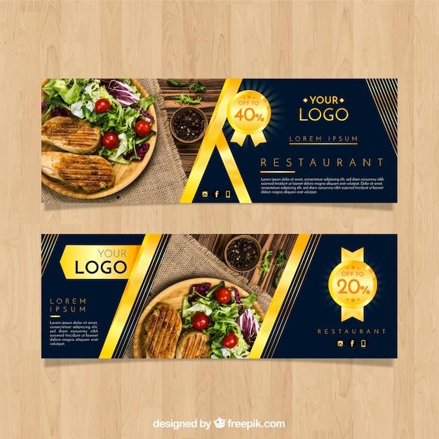 Banners de restaurante com fotografia de comida Vetor grátis