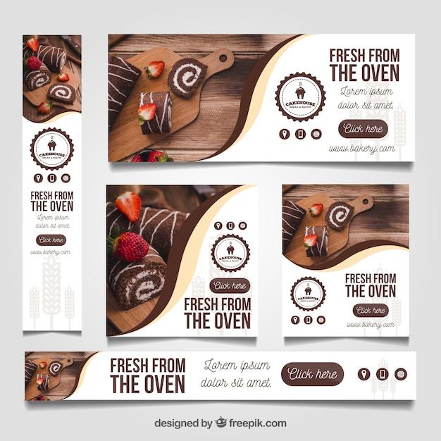 Banners de restaurante com fotos Vetor grátis