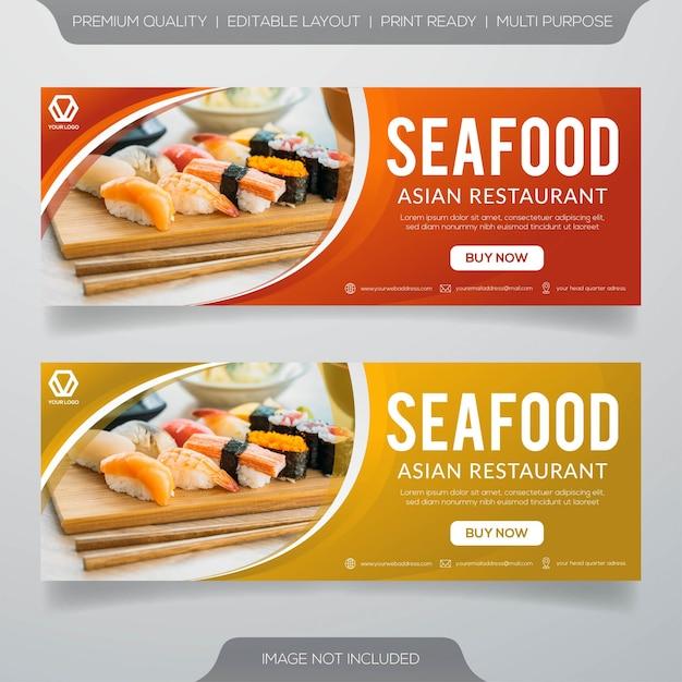 Banners de restaurante de frutos do mar Vetor Premium