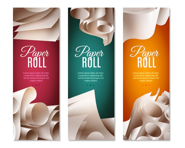 Banners de rolos de papel 3d Vetor grátis