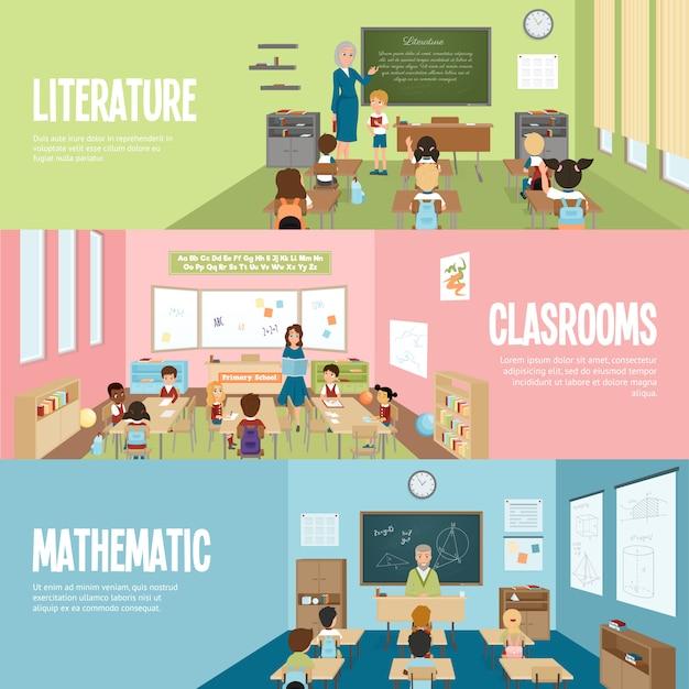 Banners de sala de aula da escola Vetor grátis