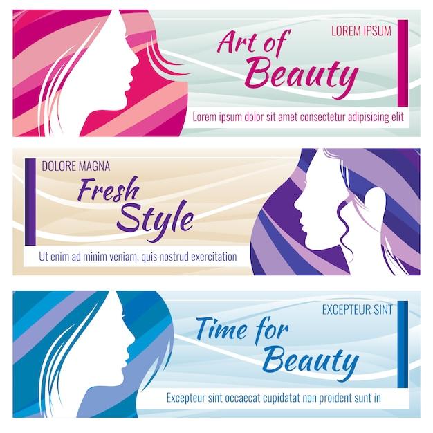 Banners de salão de beleza vetor definido com rosto de mulher jovem e bonita Vetor Premium