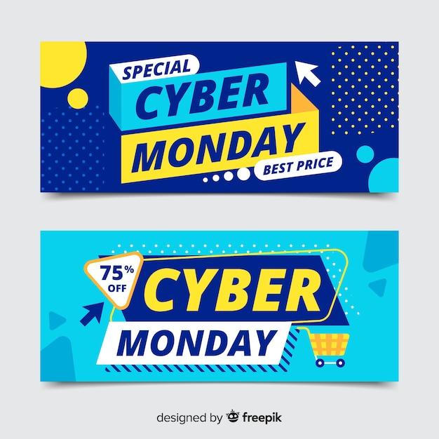 Banners de segunda-feira cibernética em design plano Vetor grátis