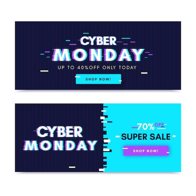 Banners de segunda-feira cyber falha Vetor grátis