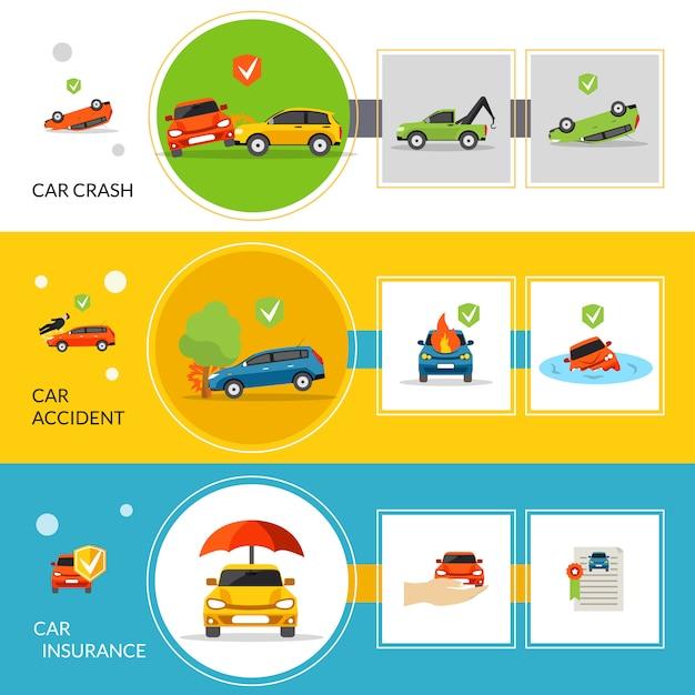 Banners de seguro de carro Vetor Premium