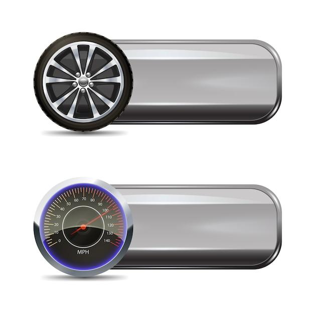 Banners de serviço de pneu Vetor grátis