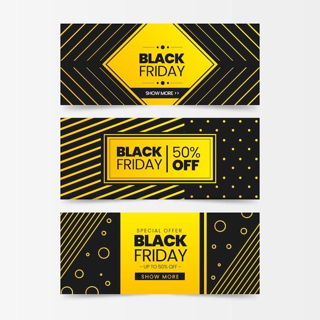 Banners de sexta-feira negra em design plano Vetor grátis
