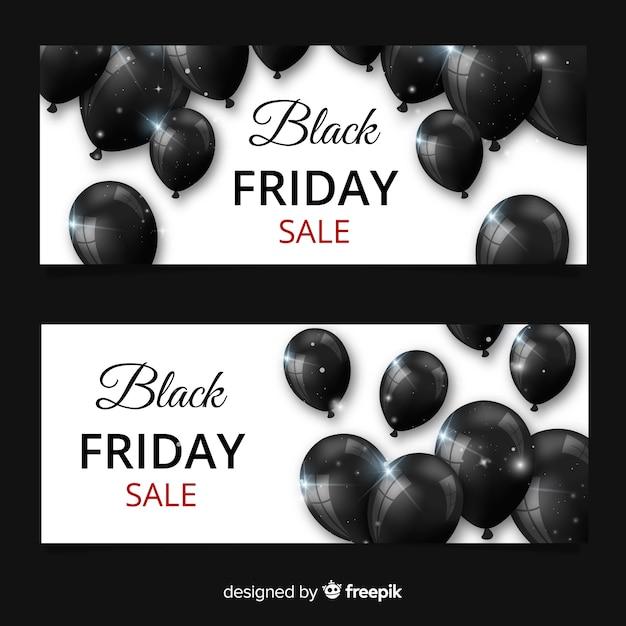 Banners de sexta-feira negra moderna com balões realistas Vetor grátis