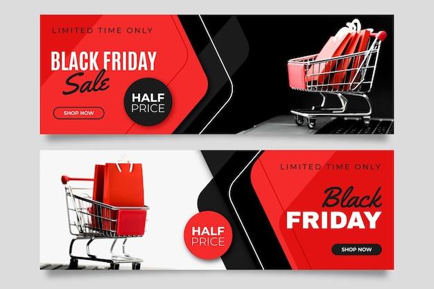 Banners de sexta-feira preta com foto em design plano Vetor Premium