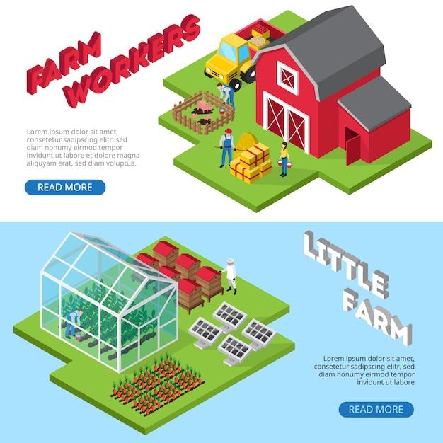 Banners de sites de pequenos negócios agrícolas rentáveis com trabalhadores rurais e informações sobre instalações agrícolas Vetor grátis