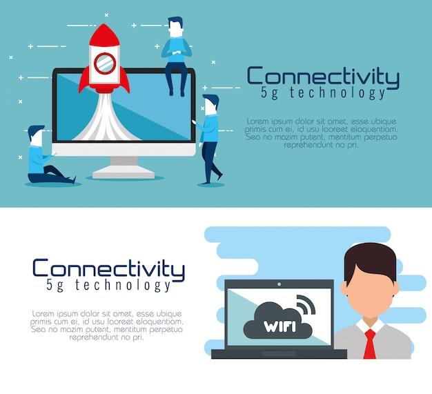 Banners de tecnologia 5g de conectividade Vetor grátis