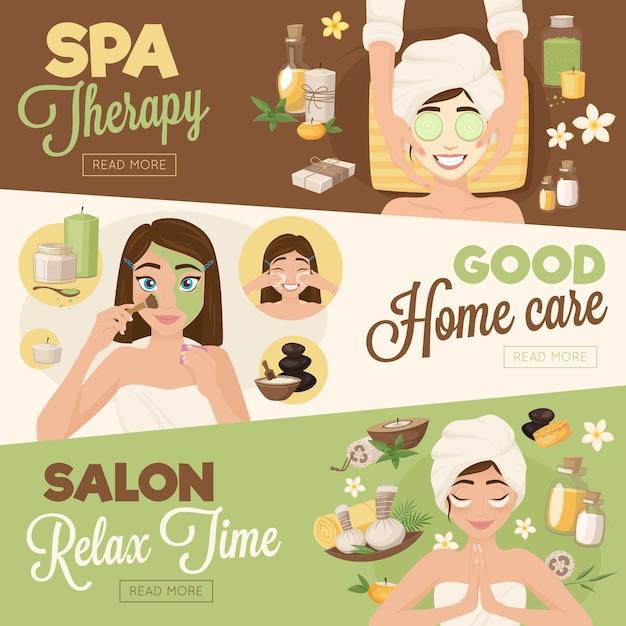 Banners de terapia de mulher de salão de beleza Vetor grátis