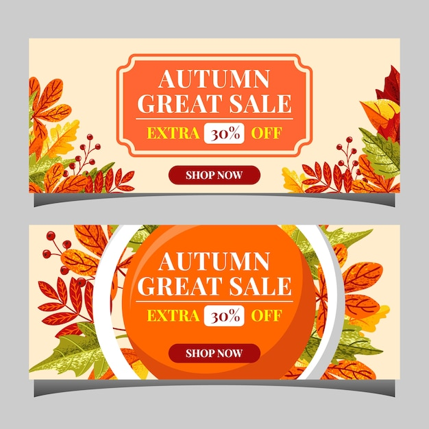 Banners de texto de venda outono para promo de compras de setembro Vetor Premium