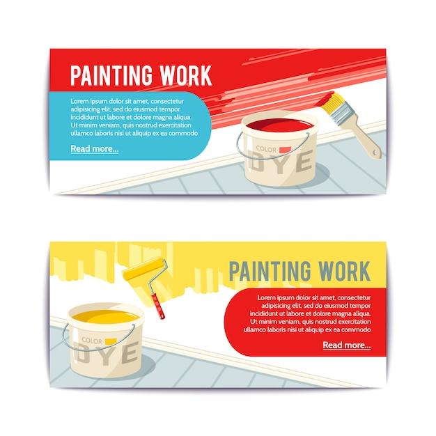 Banners de trabalho de pintura Vetor grátis