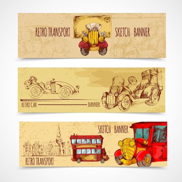 Banners de transporte vintage Vetor grátis