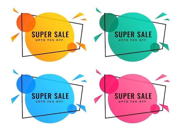 Banners de venda abstrata em cores diferentes Vetor grátis
