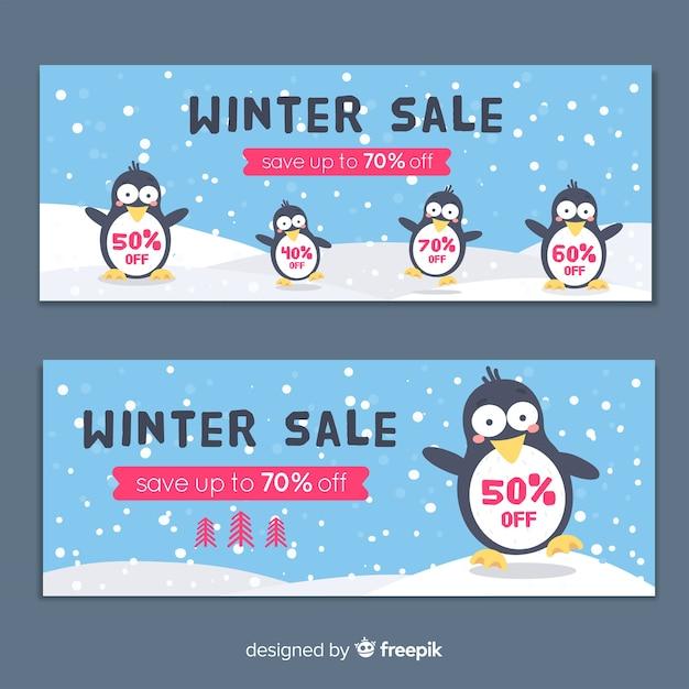 Banners de venda apartamento inverno Vetor grátis