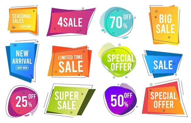 Banners de venda. bandeiras de linha moderna com cores na moda, etiquetas promocionais, coleção de modelos de preços de queda. desconto de venda e preço, melhor ilustração do ícone de oferta Vetor Premium