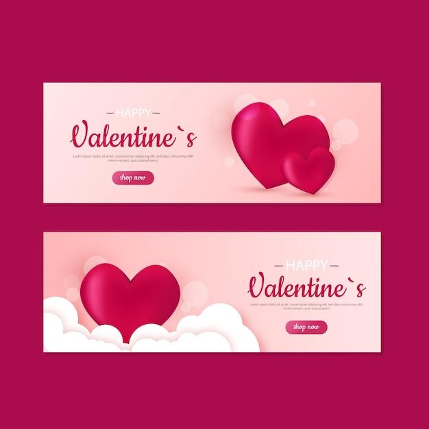 Banners de venda bonito dia dos namorados Vetor grátis