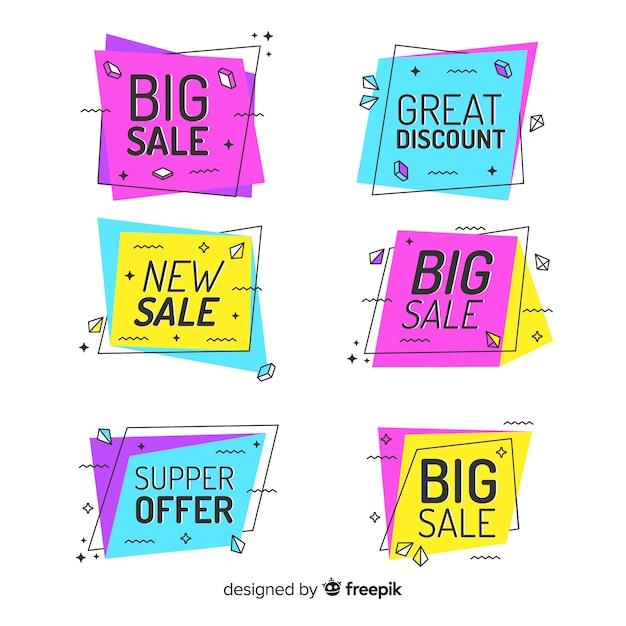 Banners de venda colorida de memphis Vetor grátis