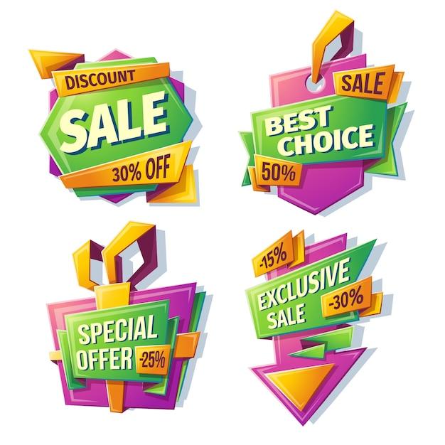 Banners de venda de desenhos animados, emblemas, adesivos, tags Vetor grátis