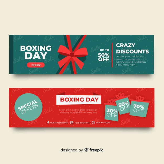 Banners de venda de dia de boxe Vetor grátis