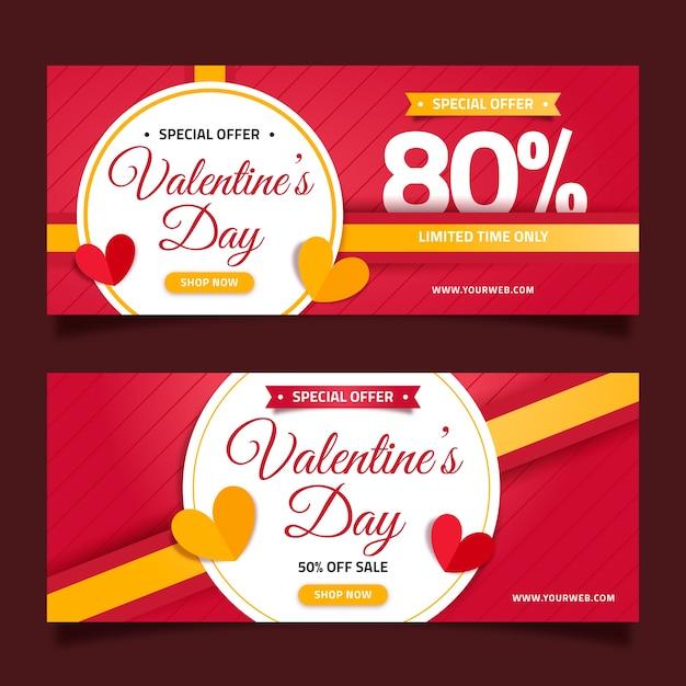 Banners de venda de dia dos namorados de design plano Vetor grátis