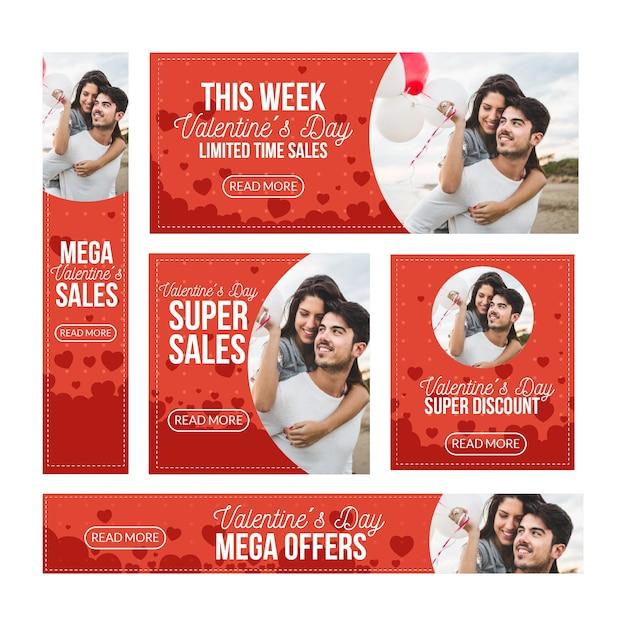 Banners de venda de dia dos namorados plana com mega ofertas Vetor grátis