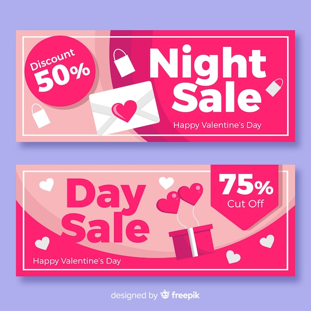 Banners de venda de dia dos namorados Vetor grátis