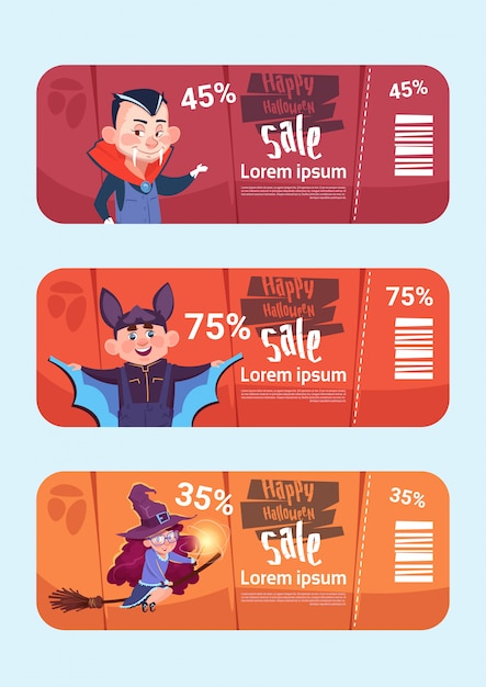 Banners de venda de halloween definir o conceito de coleção de desconto sazonal Vetor Premium