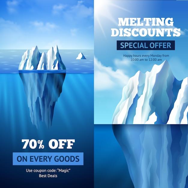Banners de venda de iceberg Vetor grátis