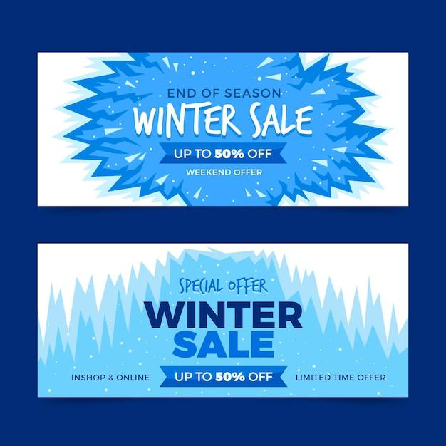Banners de venda de inverno de design plano Vetor grátis