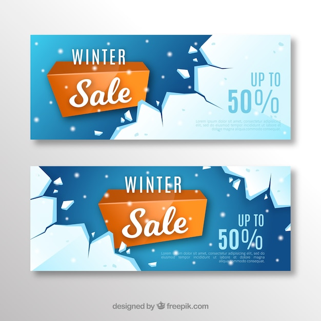 Banners de venda de inverno realistas Vetor grátis