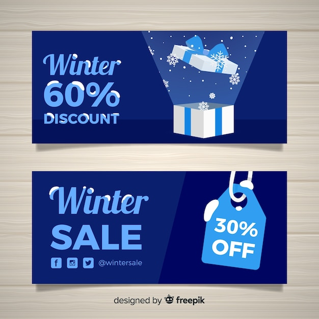 Banners de venda de inverno Vetor grátis