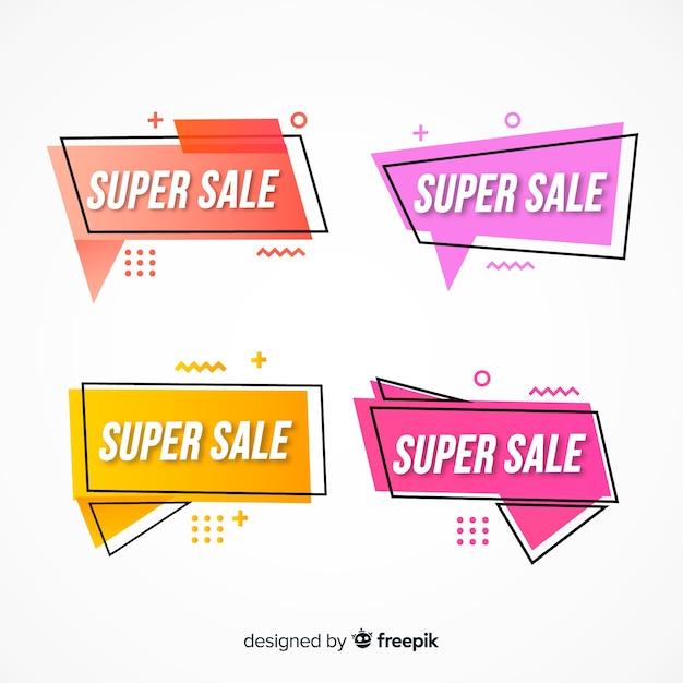 Banners de venda de memphis Vetor grátis